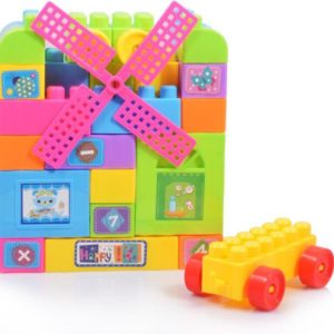 Children's granules plastic puzzle pieces assembled to insert blocks