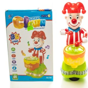 Happy Colourful Clown Drummer With 3D Light