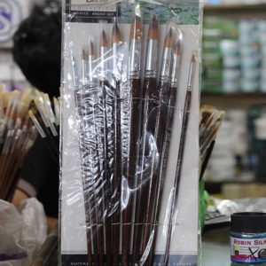 10 Pcs Round Long Stick Paint Brush Set - Brown