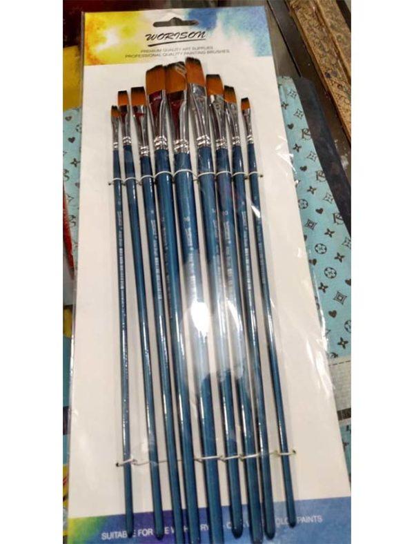 Worison Artist Brush Chisel Different Size Pack Of 9 -